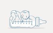 istock Cute baby boy lying on huge bottle of milk. 1309330178