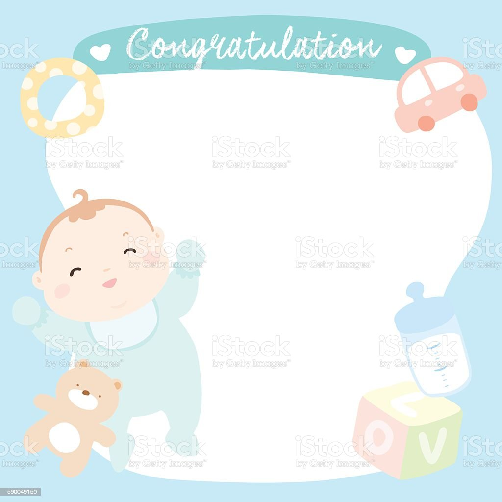 Cute baby boy on empty greeting card vector stock vector art more cute baby boy on empty greeting card vector royalty free cute baby boy on empty m4hsunfo