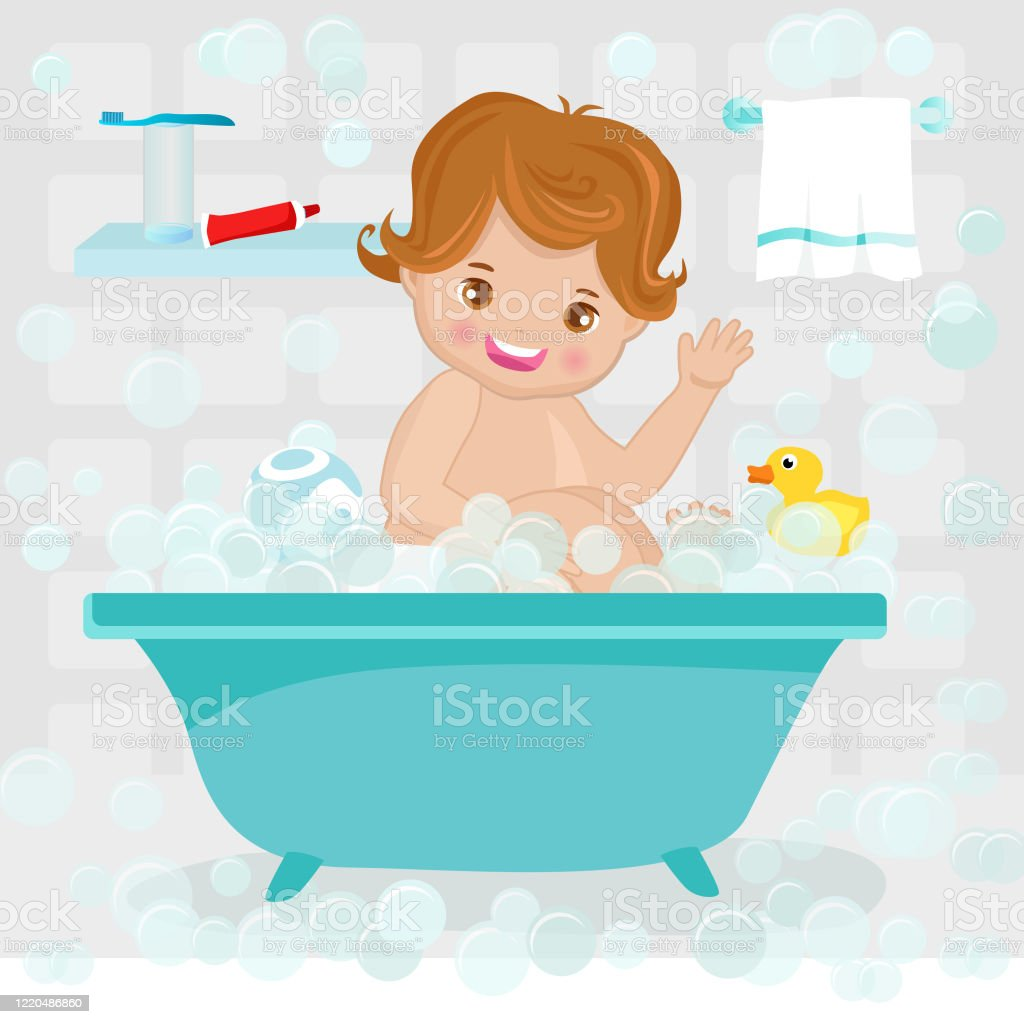 Cute Baby Boy In Bath Cartoon Vector - Arte vetorial de