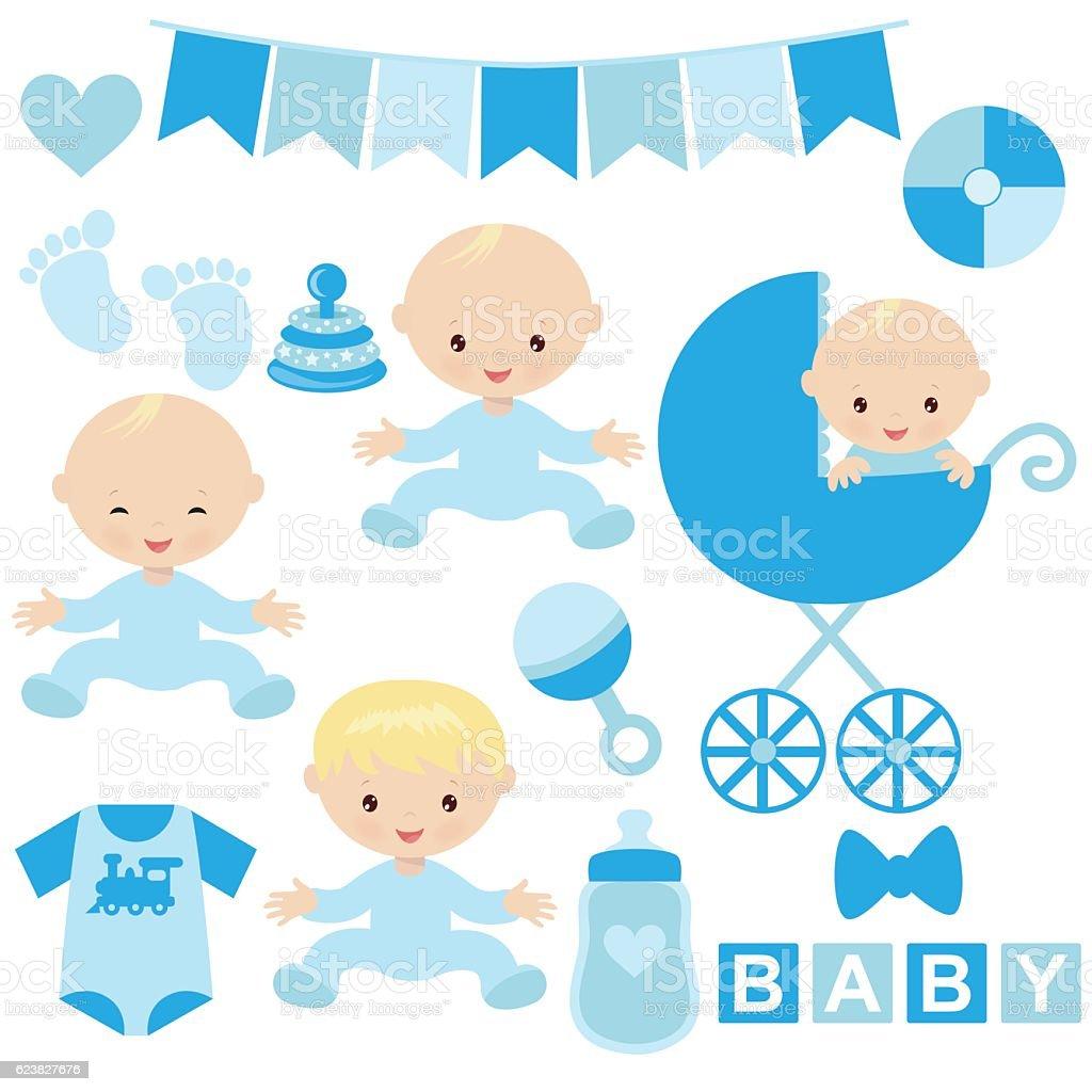 Cute Baby Boy Vector Cartoon Illustration Stock Vector Art ...