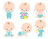 Cute Baby Boy Vector Illustration