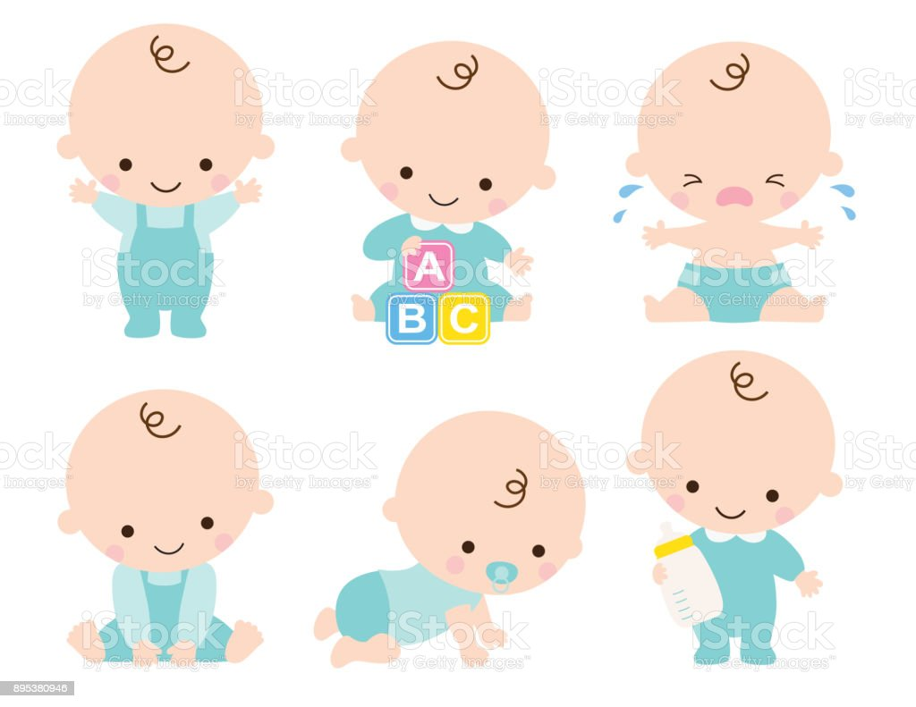 Cute Baby Boy Vector Illustration vector art illustration
