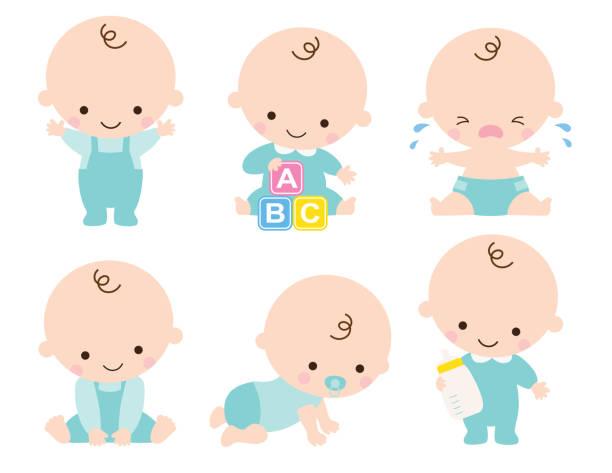 cute baby boy vector illustration - maluch stock illustrations
