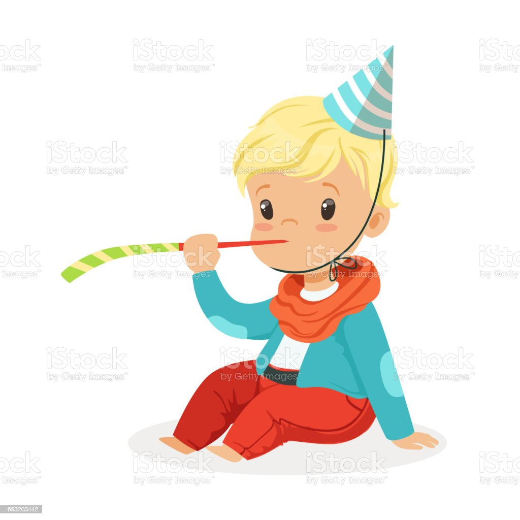 Cute Baby Boy Wearing A Party Hat Sitting With Party Blower Kids Birthday Party Colorful Cartoon Character Vector Illustration Stock Illustration Download Image Now Istock