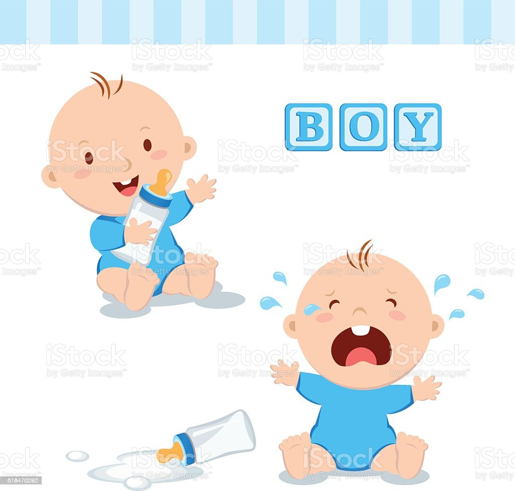 Cute baby boy with milk bottle vector art illustration