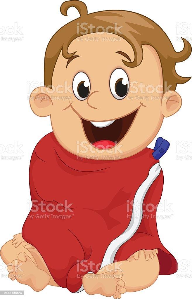 cute baby boy wrapped in bath towel vector art illustration
