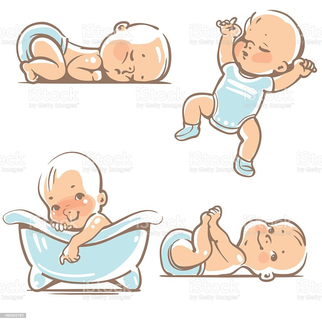 Cute baby boys. vector art illustration