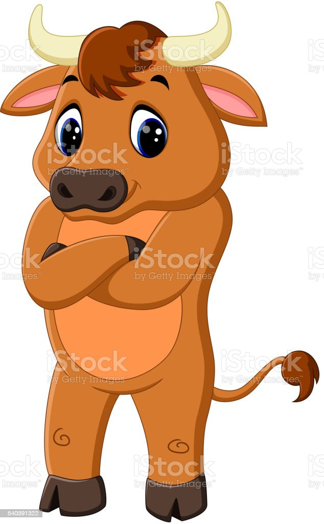 cute baby bull cartoon vector art illustration
