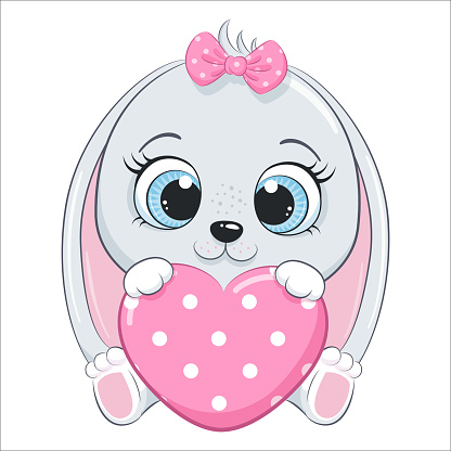 Cute baby bunny with a heart. Cartoon vector illustration.
