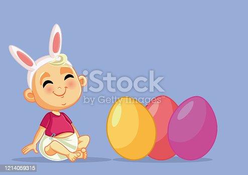 istock Cute Baby Celebrating Easter Vector Cartoon 1214059315