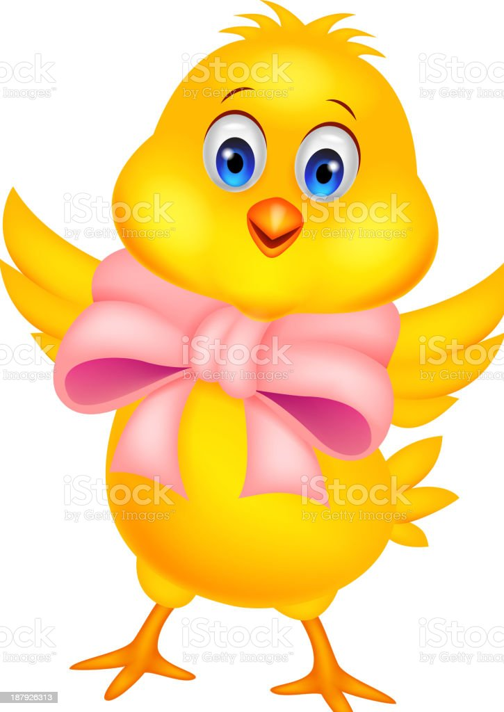 Cute baby chicken cartoon royalty-free stock vector art