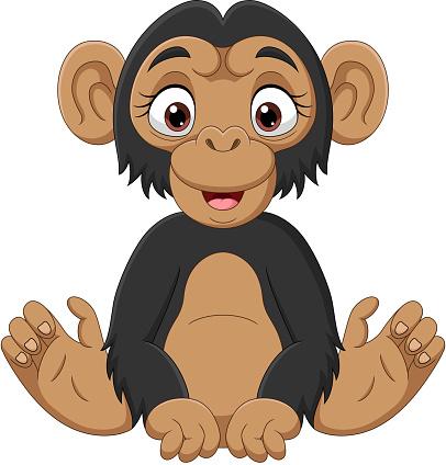 Cute baby chimpanzee cartoon sitting