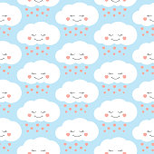 Cute baby cloud pattern vector seamless. Children print with clouds and hearts rain on lilac background. Design for kids birthday card, wallpaper or fabric, baby shower invitation template.
