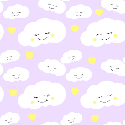 Cute Baby Cloud Pattern Vector Seamless Girl Print With