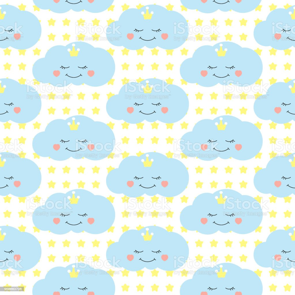 Cute Baby Cloud Pattern Vector Seamless Girl Print With Eyelash