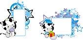 cute baby cow cartoon copy space collection