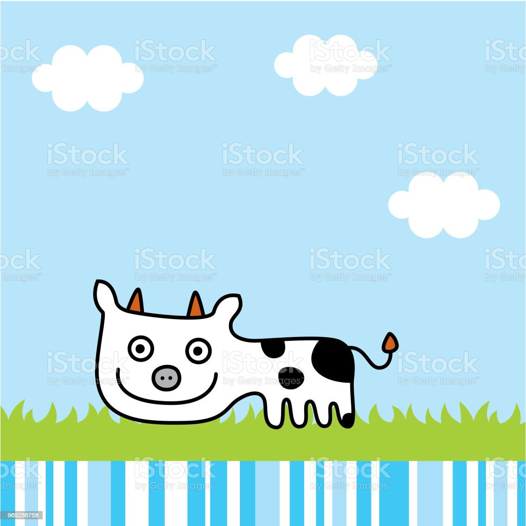 cute baby cow holiday vector royalty-free cute baby cow holiday vector stock illustration - download image now