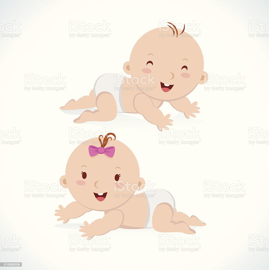 Cute baby crawling vector art illustration