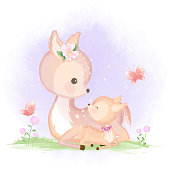 istock Cute baby deer and mother hand drawn animal illustration watercolor 1197983366