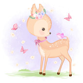 Cute baby deer with bird and butterfly hand drawn animal illustration watercolor