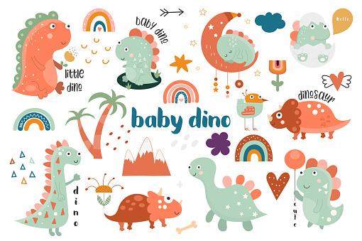 Cute baby dinosaur, rainbow, flower collection