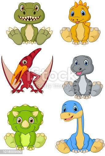 Vector illustration of Cute baby dinosaurs cartoon collection set