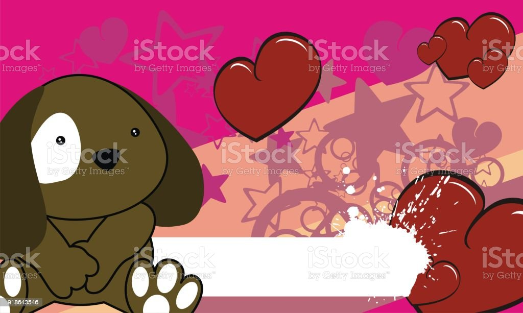 Cute Baby Dog Valentine Background Stock Vector Art More Images Of