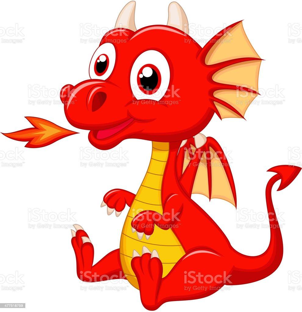 Cute baby dragon cartoon royalty-free stock vector art