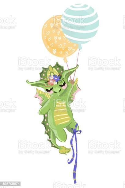 Cute baby dragon hand drawn illustration dreaming dragon with and vector id893709874?b=1&k=6&m=893709874&s=612x612&h=mf1rajuhuhky37qlbafn2htlla8fzzcfjafqqkol090=