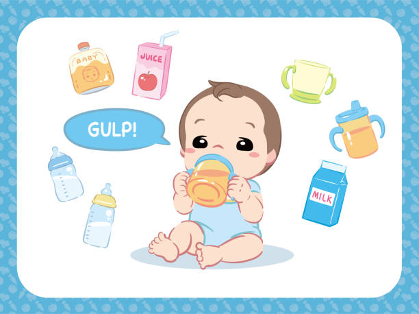 かわいい赤ちゃん飲料水、ジュースか何かを飲みます。および関連アイテム。 - ベビーフード点のイラスト素材/クリップアート素材/マンガ素材/アイコン素材