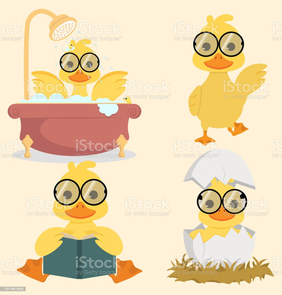 Cute Baby duck collection set vector art illustration