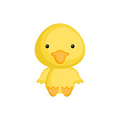 Cute baby duck sitting isolated on white background. Adorable animal character for design of album, scrapbook, card, invitation on baby shower, party. Flat cartoon colorful vector illustration.