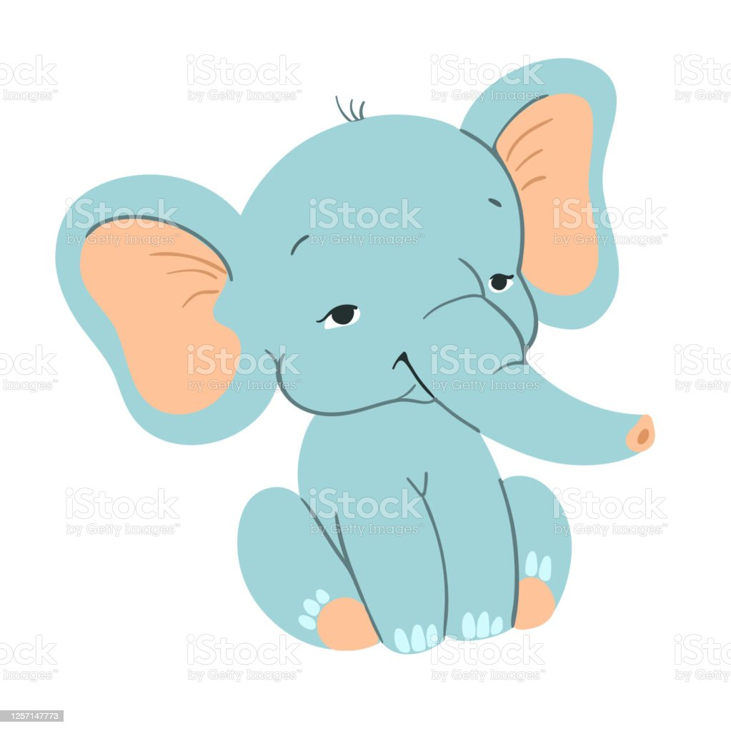 Cute Baby Elefant Sitting Funny Blue Elefant With For ...