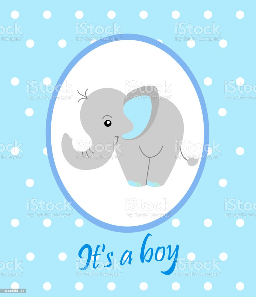 cute baby elephant arrival announcement card birth announcement