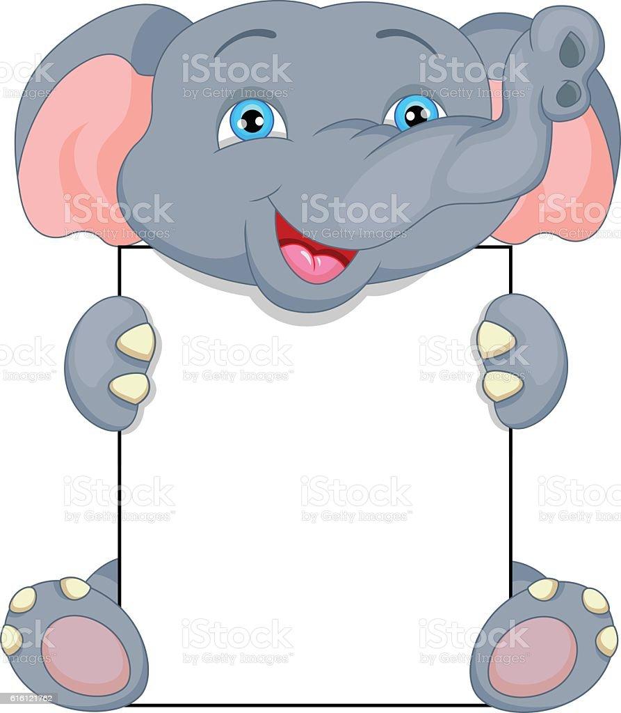 cute baby elephant cartoon and blank sign stock vector art