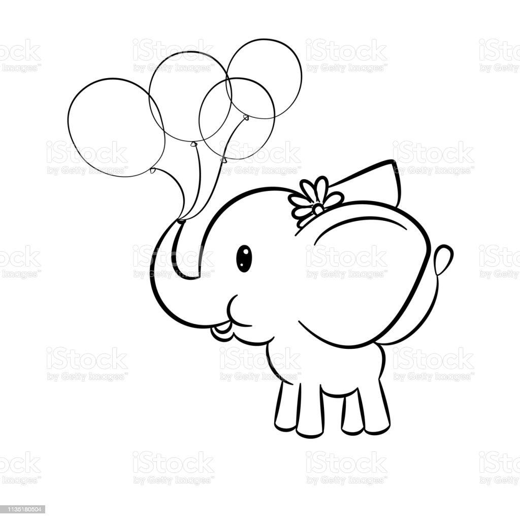 Kleurplaten Baby Olifant.Schattige Baby Olifant Holding Ballonnen In De Kofferbak Op
