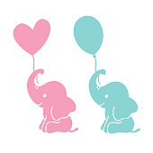Cute Baby Elephant Holding Balloons Silhouette