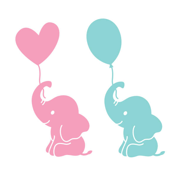 cute baby elephant holding balloons silhouette - elephant stock illustrations