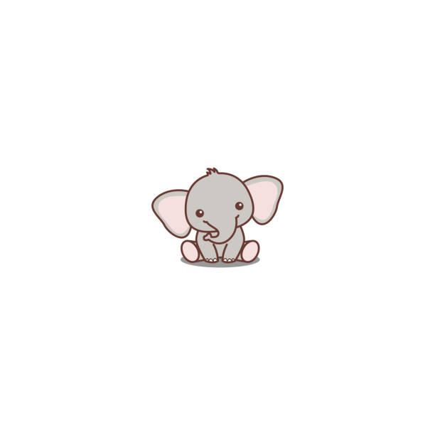 Cute baby elephant sitting cartoon icon, vector illustration Cute baby elephant sitting cartoon icon, vector illustration elephant stock illustrations