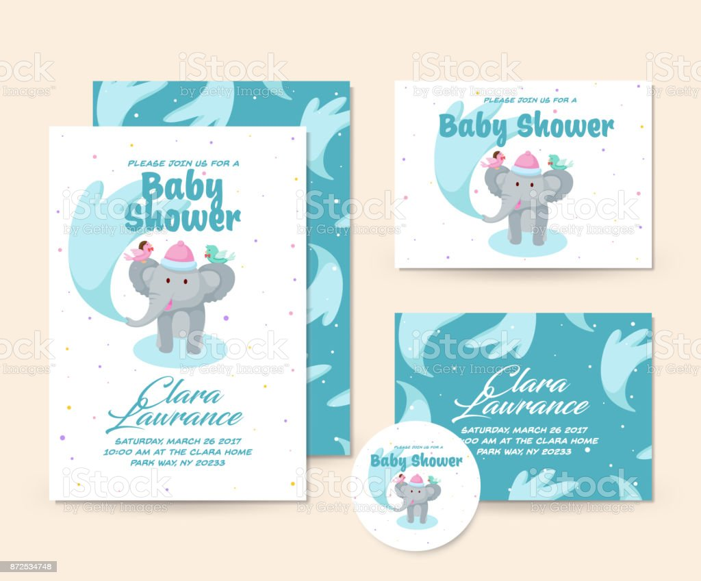 Cute Baby Elephant Theme Baby Shower Invitation Card Illustration