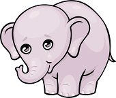 cute cartoon style baby elephant