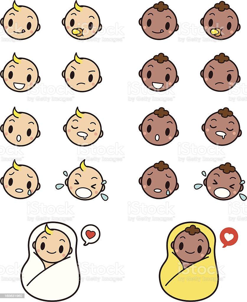 Cute Baby Faces Emoticon Icon Set