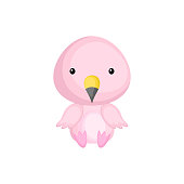 Cute baby flamingo sitting isolated on white background. Adorable animal character for design of album, scrapbook, card, invitation on baby shower, party. Flat cartoon colorful vector illustration.