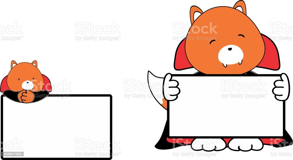 cute baby fox cartoon halloween vampire costume singboard set royalty free cute baby fox cartoon