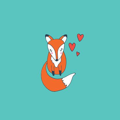 Cute baby fox in love, vector hand drawn illustration