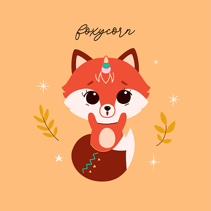 Cute baby fox in minimalistic flat style with wreath from autumn leaves. Vector.