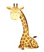 Baby giraffe cute animal sitting vector design for stickers, baby shower or nursery art. Adorable giraffe for kids isolated vector clipart.