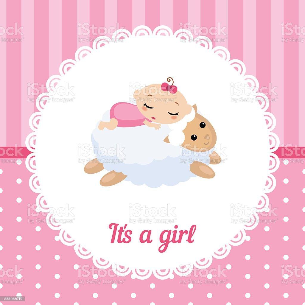 Lindo bebé niña tarjeta - ilustración de arte vectorial