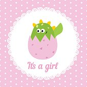 Cute baby girl card. Illustration of a cracked hen's egg with little dinosaur inside.