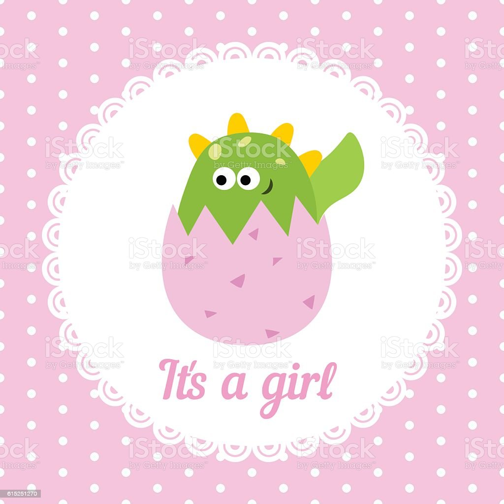 Cute baby girl card vector art illustration